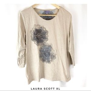 Laura Scott XL Beige 3/4 sleeve shirt top blouse